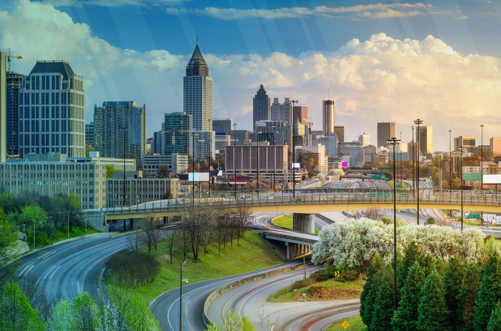 View of the Atlanta, Georgia city skyline with a long-exposure of Interstate 75